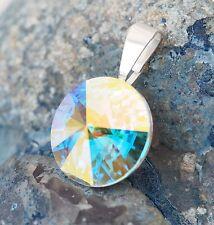NUOVO CIONDOLO catene 14mm pietra Swarovski Crystal AB/Cristallo AB rimorchio