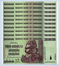 Zimbabwe 200 Million Dollars x 10 pcs AA 2008 P81 consecutive UNC currency bills