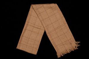 NWT POLO RALPH LAUREN Scarf 74x14 in Biscotti Beige Glen Plaid Fringed 100% Wool