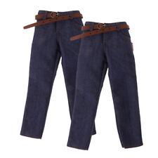 2Pcs 1/6 Scale Male Classic Denim Jeans Pants for 12'' Action Figure Dolls