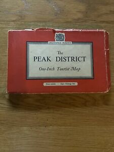 Vintage Ordnance Survey One Inch Cloth Map of The Peak District Printed 1957 VGC