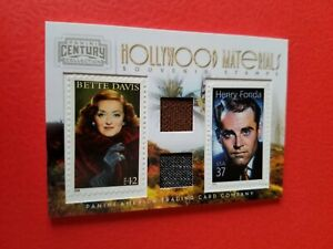 BETTE DAVIS & HENRY FONDA WORN RELIC SWATCH & STAMP CARD AMERICANA #d98/250