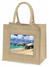 Tropical Seychelles Beach Large Natural Jute Shopping Bag Christmas Gift, W-7BLN