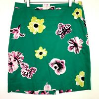 j.crew punk floral pencil skirt cotton spring green size 10 medium
