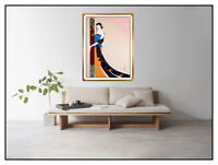 Lillian Shao Original Acrylic Painting On Canvas Signed Female Portrait Large