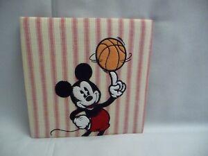 Disney  Mickey Basketball Wall Hanging Fabric Piece  9.5'' x 9.5''