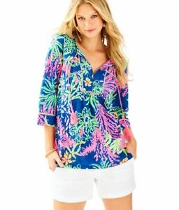 Lilly Pulitzer Tilda All A Glow Printed Tassel Tie Tunic Top Blouse Size S Navy