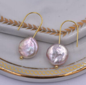 Natural Pink Baroque Irregular Pearl Gems Yellow Gold Plated Dangle Earrings