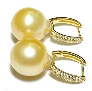 Fabulous Giant 13.4x14.8mm Natural Gold Oval Australian South Sea Pearl Earrings