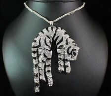 TIGER AUSTRIAN RHINESTONE CRYSTAL LONG NECKLACE PENDANT BROOCH PIN N1592S SILVER