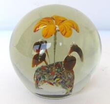 VINTAGE BEAUTIFUL MURANO GLASS DESKTOP PAPER WEIGHT w/FLOWERS