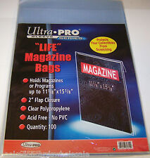 100 each Ultra Pro Life Magazine Sleeves Storage Poly Bags & Backer Boards