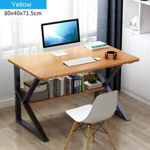 Wood Computer Desk PC Laptop Table Study Workstation Home Office w/Book Shelf