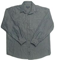 Gazman Men's Long Sleeve Relaxed Blue Strip Shirt Size L