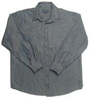 Gazman Men's Long Sleeve Relaxed Blue Strip Shirt Size L