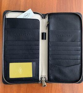 NWT Fossil Men's Multi-Zip Leather Passport Case Black MLG0334001 TRAVEL WALLET