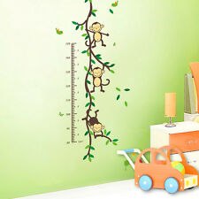 Jungle Monkey Tree Wall Sticker Vinyl Removable Child Height Chart Measure Decor