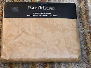 NIP Vintage Ralph Lauren Avery Cafe Beige Paisley Floral 2 Tone King Flat sheet