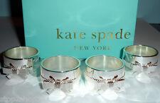 Kate Spade GRACE AVENUE Napkin Rings 4 PC. Ribbon & Bow Silverplate New