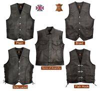 Men's Genuine Cowhide Leather Waistcoat Motorcycle Biker Style Black Gillet Vest