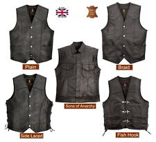 Men's Genuine Cowhide Leather Waistcoat Motorcycle Biker Style Black Gillet Vest