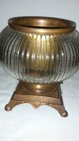 Beautiful Vintage Mid Century Glass and Brass Hurricane Candle Holder