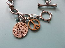 """Lucky Brand Silvertone 8"""" Link Bracelet, Gold & Silver Peace Signs, Toggle Clasp"""