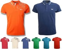 Mens Crosshatch Short Sleeved Polo Shirt Cotton Printed Smart Casual T Shirt Top