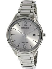 Citizen Eco-Drive Women's Chandler Calendar Silver Tone 37mm Watch FE6100-59A