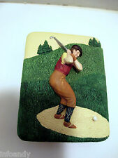 VTG Hand Painted Golf Theme Trinket Jewelry Box by Dezine 1993, Scotish Golfer