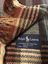 "Vintage Ralph Lauren Lodge Tartan Plaid Wool Fringe Throw Blanket 60"" x 68"" USA"