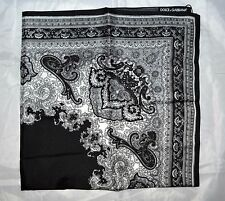 DOLCE & GABBANA BLACK SICILY MAIOLICA PRINT 100% SILK  SCARF WRAP GIFT FOR HER