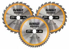 DEWALT DT1963 250mm 3 Pack TC Saw blades (2 x 24, 1 x 48T)