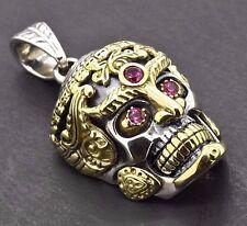 925 Sterling Silver 14k Gold Biker Sugar Skull Memento Mori Gothic Pendant Charm