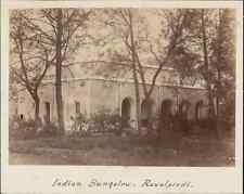 India, Indian Bungalow. Rawalpindi. ca. 1870  vintage albumen print.  Tirage a