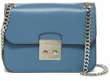 0887e151b8fe  358 NWT MICHAEL Michael Kors Sloan Leather Shoulder Crossbody Bag DENIM  Blue