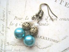 OCEAN SEAFOAM PEARL STACK BEAD Drop Earrings Antique Gold Gift Bag Jade SEASIDE