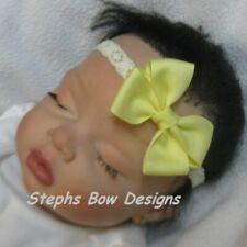 Soft Yellow Dainty Hair Bow Headband Fits Preemie Newborn Baby Toddler Easter