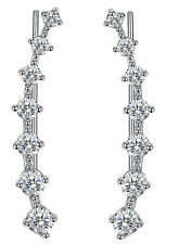 Silver Ear Climbers White Gold Plated CZ Crawler Earrings 29mm