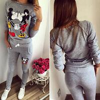 Womens Mickey Printed Tracksuit Sweatshirt Tops Sweatpants Sets 2Pcs Loungewear