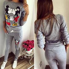 Femmes Survêtement Sweat à capuche pull + pantalon vêtements de sport Mickey
