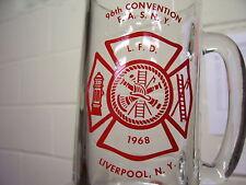 1968 LIVERPOOL NY VOLUNTEER FIREMEN GLASS MUG FIRE DEPARTMENT 96TH YEAR FASNY