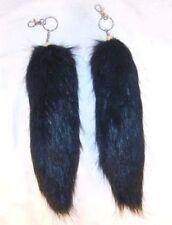 2 Jumbo Black Fox Tail Key Chain foxes wild animals novelty fake fur keychains