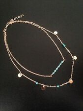 Necklace Long Chains Earring Silver Gold Turquoise Tassel Hippie Boho R1008 Gold