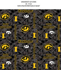 IOWA HAWKEYES FLEECE BLANKET FABRIC-UNIVERSITY OF IOWA FLEECE FABRIC-DIGI CAMO