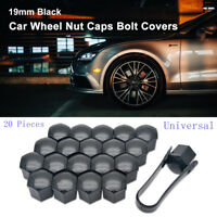 20X19MM Black CAR WHEEL NUT BOLT COVERS CAPS UNIVERSAL FOR ANY CAR NEW
