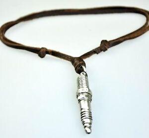SOFT Vintage Leather Beach Choker Charm Necklace Special Spark Plug Pendant