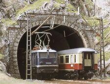 BUSCH 7027 H0, 2 Tunnelportale, E-Lok-Portale, 2-gleisig, Neu