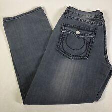 True Religion Distressed Wash Faded Black Stitch Boot Cut Jeans Men's 34 x 31