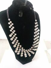WHITE HOUSE BLACK MARKET RHINESTONE STATEMENT NECKLACE NWT SILVER MISSING STONES